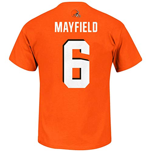 Outerstuff NFL Youth Team Color Primary Logo Player Name and Number Jersey T-Shirt (Small 8, Baker Mayfield Cleveland Browns Orange)
