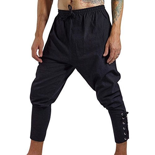 'Ankle Cuff' Pants, Medieval, Pirate, Mens Renaissance Costume