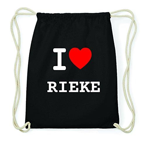 JOllify RIEKE Hipster Turnbeutel Tasche Rucksack aus Baumwolle - Farbe: schwarz Design: I love- Ich liebe oXIdI