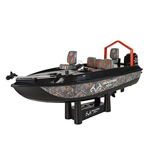 RC Fishing Boat Remote Control Real Tree Bass Boat Authentic Camo 80ft Range (Toy Bass Boat)
