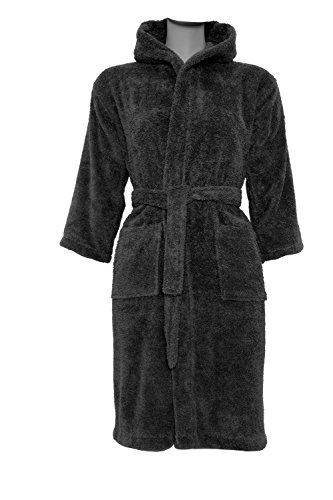 Kids Terry Cotton Super Absorbent Hooded Robe, Made in Turkey with 100% Turkish Cotton (Small/Medium, Black) ()