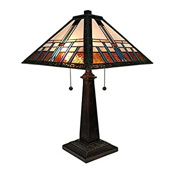 Image of Amora Lighting Tiffany Style Table Lamp Banker Mission 21' Tall Stained Glass Blue White Brown Vintage Antique Light Décor Living Room Bedroom Office Handmade Gift AM239TL14B, Multicolor Home Improvements