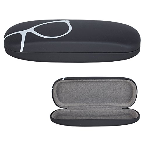 Hard Shell Eyeglass Case, Protective Case for Glasses and Sunglasses, By OptiPlix (Black ()