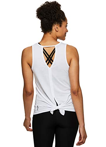 RBX Active Women's Keyhole Tie Back Fashion Workout Yoga Tank Top S.19 White M