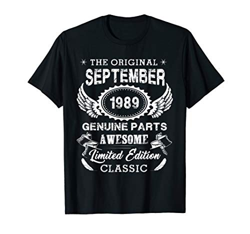 Vintage September Shirt 1989 Birthday Gift For 30 Yrs Old A1 T-Shirt
