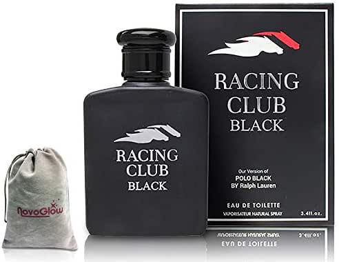 Racing Club Black Perfume for Men, Eau De Toilette Cologne 3.4 oz, with a NovoGlow pouch Included, Perfect Gift