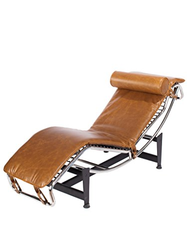 Product Name: Mid Century Modern Classic Le Corbusier LC-4 Style Replica Premium Vintage Caramel Brown PU Leather and Stainless Steel Frame Chaise Lounge Chair LC4