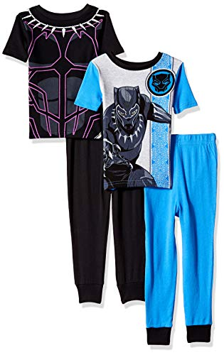 Marvel Boys' Big Black Panther 4-Piece Cotton Pajama Set, Wakandan Warrior, 8]()