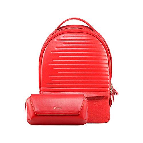 Habik Zaino per Computer portatile, in pelle, 2 w, vita e Versatile Borsa per Tablet PC portatili/Macbook, Rosso (rosso),