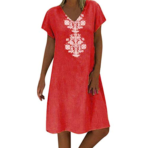 Apparel Cost At - Sunhusing Ladies Summer Loose Casual Linen Dress V-Neck Bohemian Print Short Sleeve Dress Orange
