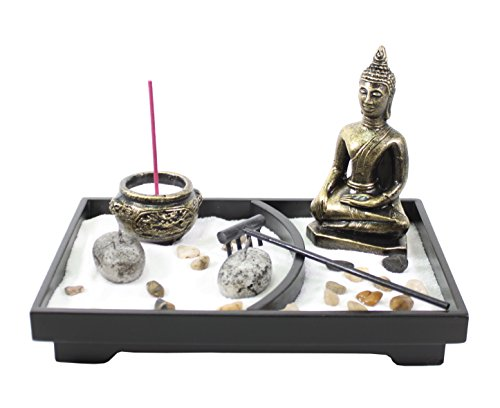Tabletop Zen Garden Buddha Rock Rake Sand Candle Incense Burner Home Decor Gift from We pay your sales tax