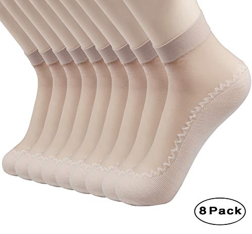 CHRLEISURE Women's 8 Pairs Anti-Slip Silky Cotton Sole Sheer Ankle High Tights Hosiery Socks,8 Pairs Skin,One Size