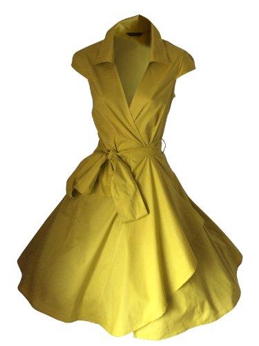 50 Soire 54 for Rockabilly Jupe Look lgant Robe Vintage Femme Annes 34 Taille de Moutarde the Cocktail stars qApvwxXa