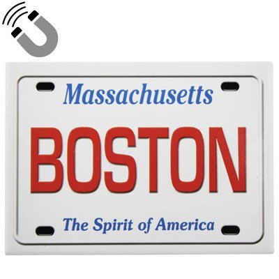 Boston Massachusetts License Plate Fridge Collector's Souvenir Magnet 2.5