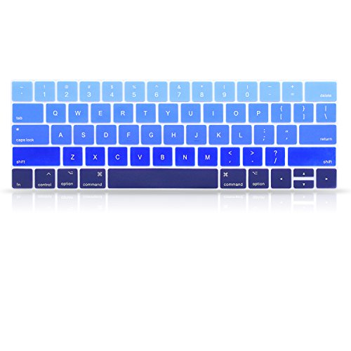 ProElife Ultra Thin Blue Gradient Ombre Keyboard Protector Cover Skin for Apple MacBook Pro with Touch Bar Retina 13 and 15 (Model A1706, A1707, 2016 2017 2018 Released) (Fade in Blue)