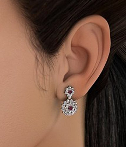 Or jaune 18K 0,88CT TW White-diamond (IJ | SI) et rubis Boucles d'oreille