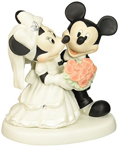 Precious Moments, Disney Mickey and Minnie Wedding Couple Figurine , Porcelain Bisque Figurine, 153706
