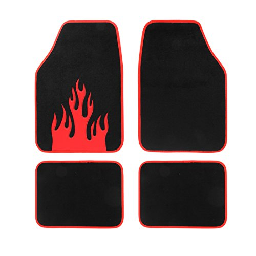 (Copap Full Set Carpet Floor Mats 4pcs Universal Fit Mat for Car SUV, Van & Trucks Driver & Passenger Seat Front & Rear Floor Mats (Black) Red Flame Pattern)