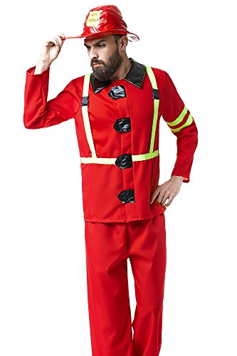 Adult Men Fireman Halloween Costume Firefighter Fire Chief Dress up & Role Play (One Size - Fits All)