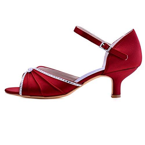 ElegantPark HP1623 Peep toes abrochan los zapatos de novia de satén tacón bajo las sandalias rojo oscuro