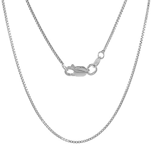 Sterling Silver 1mm Box Chain Necklace with Lobster Claw Clasp Nickel Free Italy, 20 inch