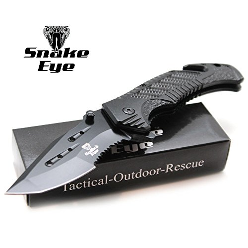 Snake Eye Tactical Heavy Half Serrated Tanto Blade Quick Open Spring Assisted folding knife Hunting Camping Fishing Outdoors Lightning Fast Deployment – Razor Sharp Blade (Black)
