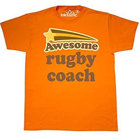 Inktastic - Rugby Coach Vintage T-Shirt XXX-Large Safety Orange - 761 Rugby