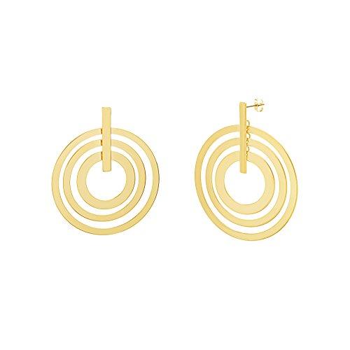 Catherine Malandrino Women's Polished Layered Circle and Bar Circle Yellow Gold-Tone Earrings (Yellow) by Catherine Malandrino