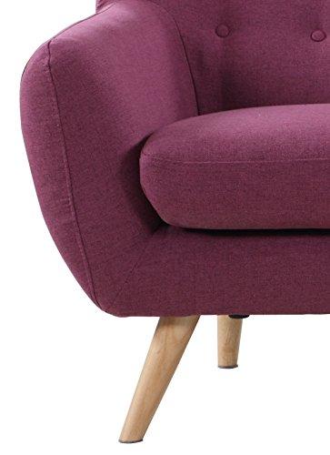 Mid-Century modern tufted linen fabric vintage style 3 seater sofa (Purple)