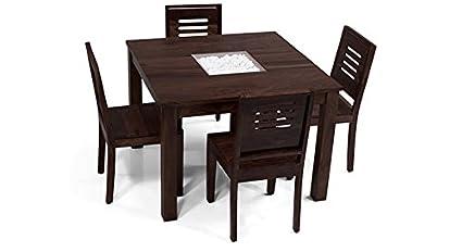 Urban Ladder Brighton Capra Four Seater Sheesham Wood Dining Table Set (Mahogany)
