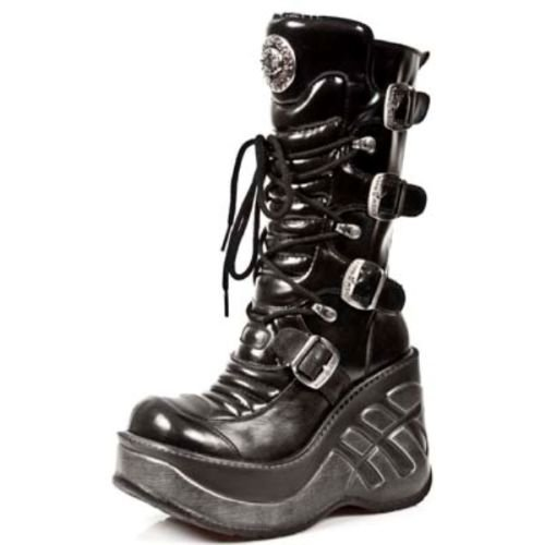 463c5024530 Newrock Ladies 9873-S1 CUNA Sport Black Leather Gothic Shoes Boots (UK 4 /