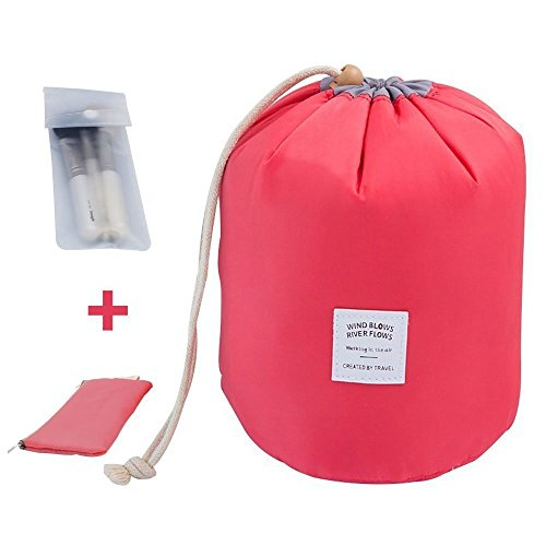 Travel Makeup Toiletry Bathroom bag - Mr.Pro Waterproof Travel Kit Organizer Cosmetic Bag Carry On Case Toiletry Bag (Cylinder Red)