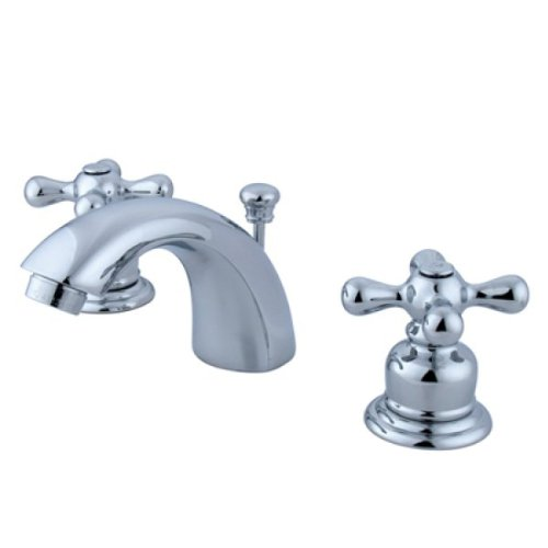 (Kingston Brass KB941AX Victorian Mini Widespread Lavatory Faucet with Metal Cross Handle, Polished Chrome)