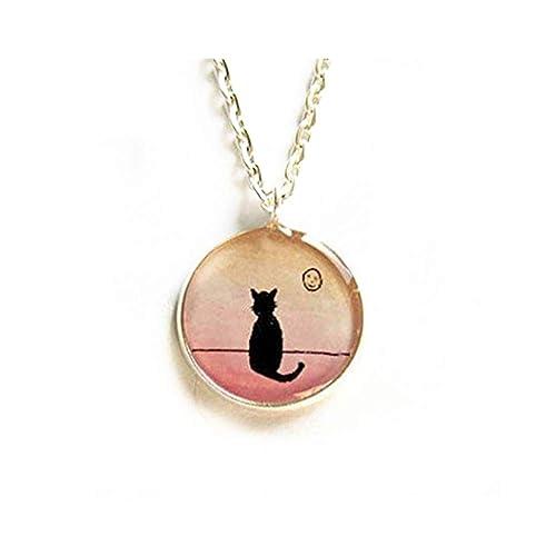 JUN Collar de gato negro, colgante de imagen de gato y luna ...