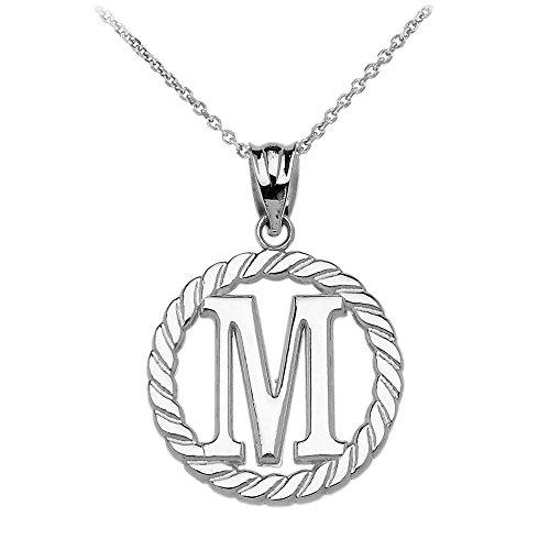 """Collier Femme Pendentif 14 Ct Or Blanc """"M"""" Initiale À Corde Cercle (Livré avec une 45cm Chaîne)"""