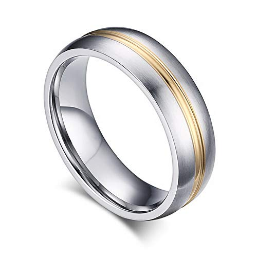 Waldenn 6mm Silver Brushed Gold Stripe Men Womens Stainless Steel Wedding Ring Size 5-13 | Model RNG - 26242 | 7