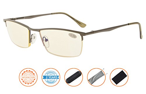 UV Protection,Anti Blue Rays,Reduce Eyestrain,Half-rim Computer Reading Glasses(Gunmetal,Amber Tinted Lenses) without Strength by Visionkr (Image #1)
