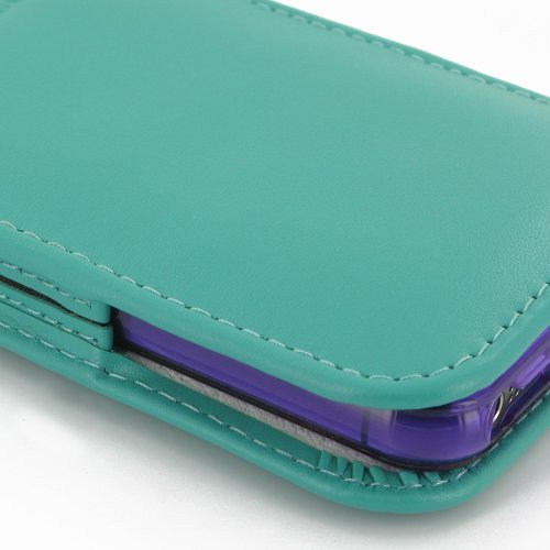 Apple iPhone 5s Leather Case in Bumper/Cover (Handmade Genuine Leather) - Vertical Pouch Type (NO Belt Clip) (Aqua) by Pdair