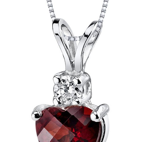 14 Karat White Gold Heart Shape 1.50 Carats Garnet Diamond Pendant