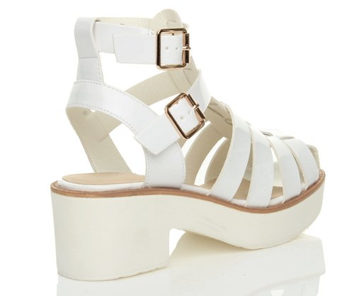 Womens ladies chunky heel strappy gladiator cut out platform sandals shoes size White Patent QJvbhIi
