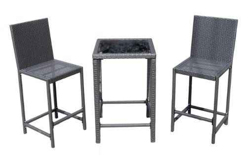 AZ Patio Heaters AW-226C Bar Height Bistro Set, Charcoal Wicker (Discontinued by Manufacturer)