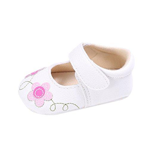 CHENGYANG Babyschuhe Mädchen Neugeborene Taufschuhe Weiche Rutschfest Baby Blumen Schuhe Lauflernschuhe Weiß