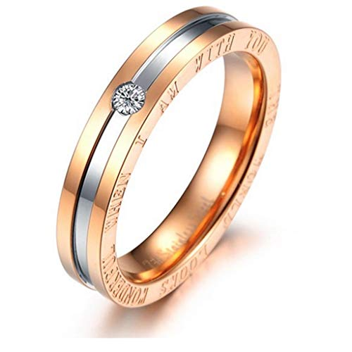 AMDXD Promise Ring Rose Gold Plated Women Figure Rings Wedding Rings CZ Rose Gold Size 6