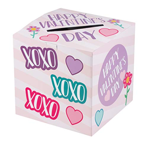 Juvale Valentines Mailbox Kit - DIY Valentine's Day Cards Cardboard Paper Box, Greeting Card Love Letter Holder, Includes 26 Bonus Cute V-Day Stickers, Pink, 12 x 12 Inches ()