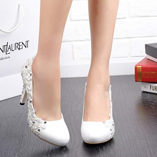 Round Shoes on Toe White vaggrt Women Vaneel Slip UK 6 Stiletto 10CM Court w0BnEzq