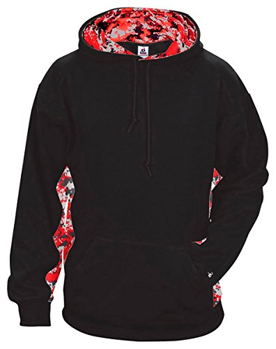 Badger Mens Digital Color Block Hooded Fleece (1464) -BLACK/RED -XL