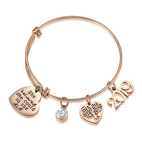 AZORA Graduation Gift Jewelry She Believed She Could So She Did Rose Gold Plated Inspirational Bracelet with Tree of Life 2019 Charm Engraved Bangle for Teen Girls Women]()