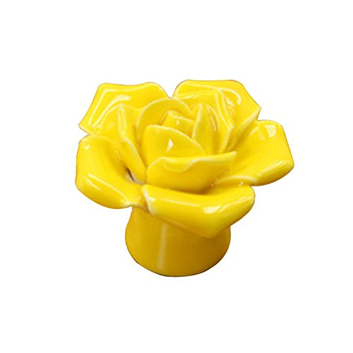 (SoundsBeauty Ceramic Rose Flower Fashion Knobs Drawer Cupboard Door Porcelain Pull Handle - Yellow)
