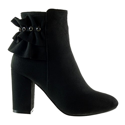High Heel cm Booty Block 9 Black Cavalier Ankle Shoes Angkorly Fashion Women's Jewelry Boots Xq1vxwz7