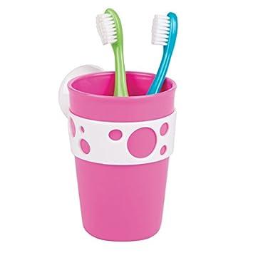mDesign Porta cepillos de dientes en PVC para fijar con ventosas - Soporte cepillo dientes para colocar en la pared sin perforar - Vaso para cepillos ...